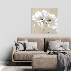 Canvas 24 x 24 - White abstract wild flowers