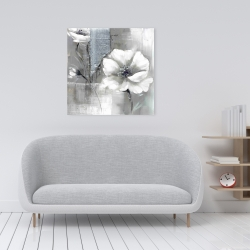 Canvas 24 x 24 - Monochrome and silver flowers