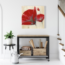 Canvas 24 x 24 - Three red flowers