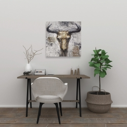 Canvas 24 x 24 - Bull skull with typography