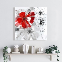 Canvas 24 x 24 - Red & gray flowers