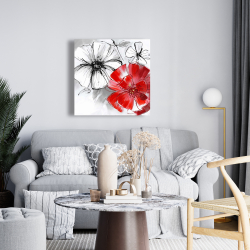 Canvas 24 x 24 - Red & white flowers sketch