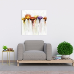 Canvas 24 x 24 - Multiple colorful abstract flowers