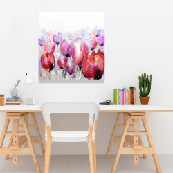 Canvas 24 x 24 - Pink tulips field