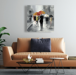 Canvas 24 x 24 - Street scene with umbrellas