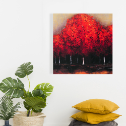 Canvas 24 x 24 - Red trees by a dark day