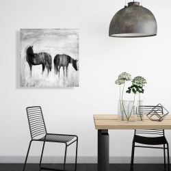 Canvas 24 x 24 - Horses silhouettes in the mist