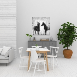 Canvas 24 x 24 - Black and white horses