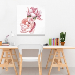 Canvas 24 x 24 - Two pink watercolor roses