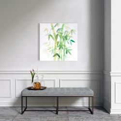 Canvas 24 x 24 - Watercolor bamboo with leaves