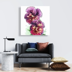 Canvas 24 x 24 - Two blossoming orchid with wavy petals
