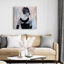 Canvas 24 x 24 - Audrey hepburn abstract style back view