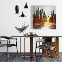 Canvas 24 x 24 - Abstract red skyline
