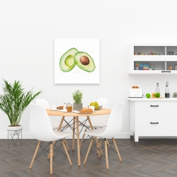 Canvas 24 x 24 - Watercolor open avocado