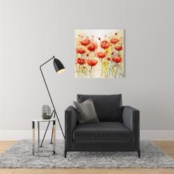 Canvas 24 x 24 - Red flowers garden