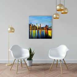 Canvas 24 x 24 - City by night with a bridge