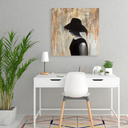 Canvas 24 x 24 - Audrey hepburn with a big hat