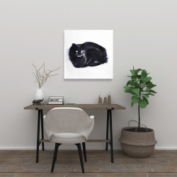 Canvas 24 x 24 - Abstract watercolor cat