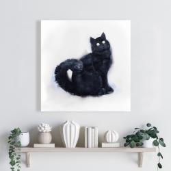 Canvas 24 x 24 - Furry black watercolor cat