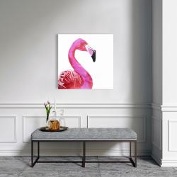Canvas 24 x 24 - Watercolor proud flamingo profile