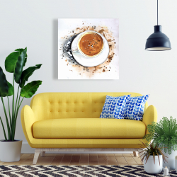 Canvas 24 x 24 - Overhead view of a cappuccino cup