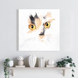 Canvas 24 x 24 - Watercolor cat face closeup