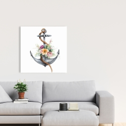 Canvas 24 x 24 - Boat anchor with flowers