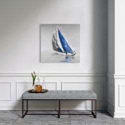 Canvas 24 x 24 - Gray and blue boat sailing