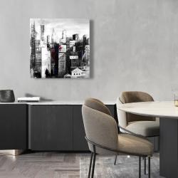Canvas 24 x 24 - White city with paint splash