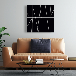 Canvas 24 x 24 - White stripes on black background