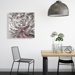 Canvas 24 x 24 - Gray and pink flower