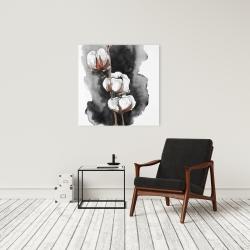 Canvas 24 x 24 - Watercolor cotton flowers