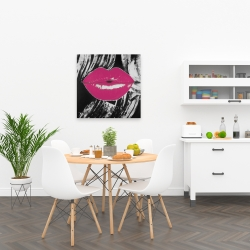Canvas 24 x 24 - Pink glossy lips