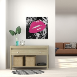 Canvas 24 x 24 - Kissable pink glossy lips