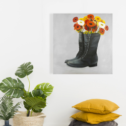 Canvas 24 x 24 - Boots full of flowers