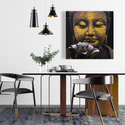 Canvas 24 x 24 - The eternal smile of buddha and his lotus