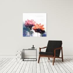 Canvas 24 x 24 - Watercolor lotus flowers