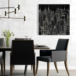 Canvas 24 x 24 - Illustrative city towers