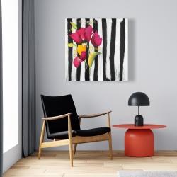 Canvas 24 x 24 - Pink flowers on black stripes