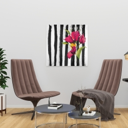 Canvas 24 x 24 - Flowers on black and white stripes