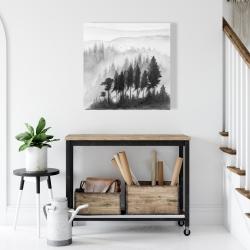 Canvas 24 x 24 - Mono mountains landscape in watercolor