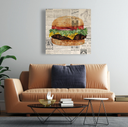 Canvas 24 x 24 - Vintage style all dressed cheeseburger