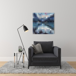 Canvas 24 x 24 - Pixelated mountainous landscape