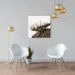 Canvas 24 x 24 - Moose plume sepia