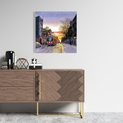 Canvas 24 x 24 - Sunset streetscape to toronto
