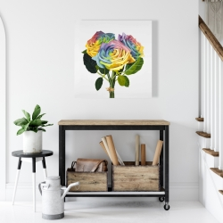 Canvas 24 x 24 - Bouquet of rainbow roses
