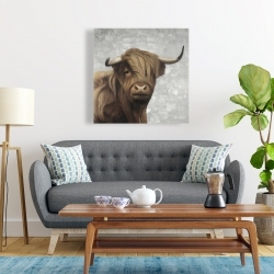 Canvas 24 x 24 - Desaturated highland cattle
