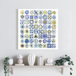Toile 24 x 24 - Carreaux marocains traditionnels en aquarelle