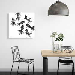 Canvas 24 x 24 - Small black fishes