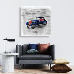 Canvas 24 x 24 - Vintage blue toy car